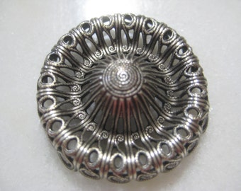 Vintage Filigree: 1970s Guyot Ornate Lacy Deep Dapt (Dapped) Round Stamping, Silver Plated Jewelry Finding, Unused Old Stock, 28mm, 1 pc.