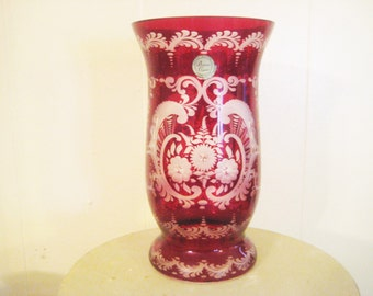 """Vintage Czech Vase,  Egermann Bohemian Ruby Red Floral Lazure Cut to Clear Art Glass, Original Tag and Gift Box, 8 x 4.5"""""""