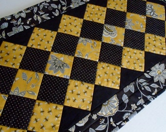 Quilted Table Runner, Quilted Table Topper, Elegant Table Quilt, Black and Gold, Bees and Flowers, Modern Quilted Table Runner,