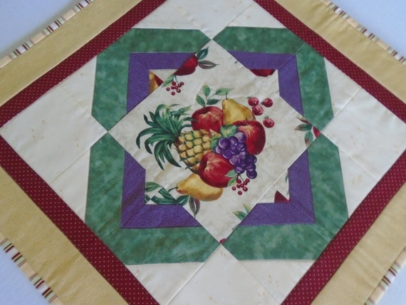 Quilted Table Topper with Fruit Theme, Quilted Table Runner, Fruit, Vintage Retro Style, Table Quilt, Kitchen Table Runner Topper