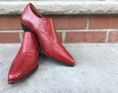 Vintage Nine West Red Snake Skin Cowboy shooties