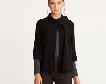 Knitted kimono cardigan, women cardigan, black cardigan, one button sweater,  black jacket, scarfed knitted top, scarf