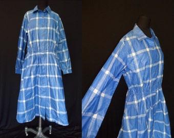 Crisp Blue Windowpane Vintage 1980's Full Skirt Shirtwaist Dress L XL