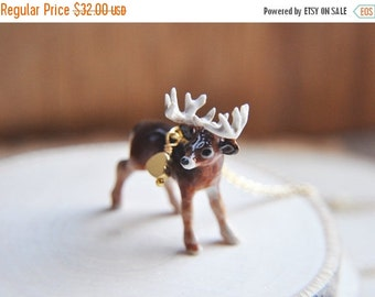 SALE Deer Necklace, Buck Necklace, Gold Deer antler Necklace, Gold Deer Necklace, Woodland Forest Friends Necklace - Animal jewelry