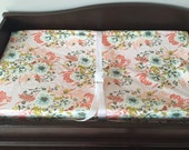 Pink Floral Baby Bedding,  Fitted Crib Sheet, Changing Pad Cover, Baby Girl Bedding, Flower Crib Sheet,  Baby Girl Nursery, Forest Floor