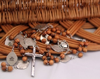 Stations of the Cross Rosary, Olive Wood Beads and Station Medals