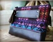 Clutch - Navajo Clutch - Peruvian clutch - Black leather clutch - Zipper Clutch - Leather clutch