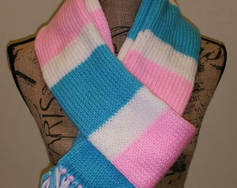 Pink, blue, and white scarf