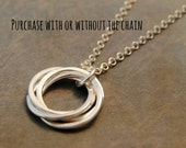 "5 interlocking rings small 1/2"" pendant necklace, 50th Birthday, Gift for Mom, Anniversary"