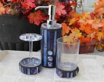 Soap dispenser set, mosaic soap dispenser set, 3 piece soap dispenser set, mosaic glass set, glass mosaic soap dispenser set, mosaic