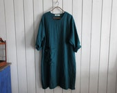 linen dress in teal with ruffle ready to ship