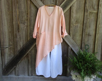 linen vneck contemporary ethnic asymmetrical top tunic dress in peach ready to ship