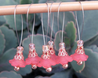 Stitch Markers, Knitting, Lucite Flowers, Czech Glass Flowers, Peach, Copper, Snag Free, Knitting Tool, Knitting Accessory, Knitters Gift
