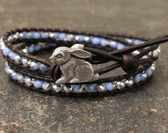 Silver Blue Bunny Bracelet Crystal and Leather Bunny Jewelry Sparkling Rabbit Jewelry Easter Jewelry
