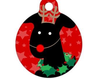 Pet ID Tag - Merry Christmas Rudolph Pup Dog Pet Tag, Dog Tag, Luggage Tag, Child ID Tag