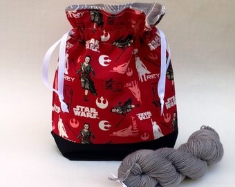 Knitting Crochet WIP Project Bag, Medium Drawstring Bag, Red Star Wars fabric, Gift Idea