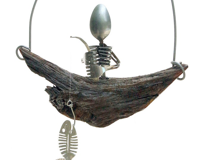 Spooky Spoon Skeleton Mobile And Bone Fish Chime, Wooden Pirate Ship Treasure Box, Man Cave Decor, Unique Masculine Husband Brother Son Gift