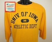 Champion University of Iowa Hawkeyes Athletic Department vintage jersey t-shirt 3/4 sleeve S/M yellow distressed 80s