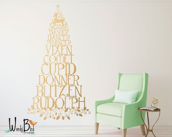 Reindeer names wall decal - Christmas tree wall decal - with holly leaves and Rudolph - Gold Wall Decal