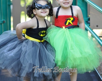 Batman Tutu Dress- Superhero Tutu Dress -Halloween Costume, Photo Prop, Birthday Tutu- Superhero Costume