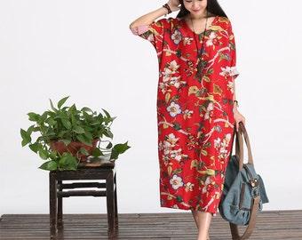Casual Loose Fitting Oversized Cotton Long Dress Blouse- Women Maxi dress - maternity dress