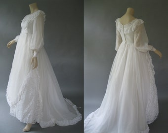 Lace and Ruffle Wedding Dress - 1970s Empire Waist - White Sheer Bridal Gown