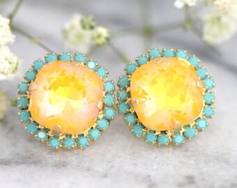 Canary Yellow earrings Canary Yellow Diamond earrings Lemon Swarovski earrings Yellow Stud earrings Turquoise Yellow wedding earrings