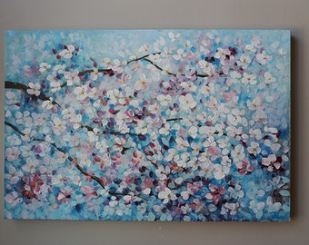 cherry blossom ,flower painting,Acrylic  painting,Original Painting,blossoming tree ,blue painting,Light Blue, tree painting,