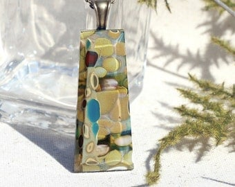 Fused Glass Jewelry, Fused Glass Pendant, Organic Earth Tones, River Rock, Pebbles, Stones - Rustic, Green Brown Beige Blue (Item #10736-P)