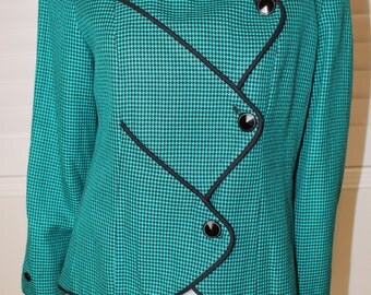 Vintage Teal Madmen Style 80's Argyle Blazer  L