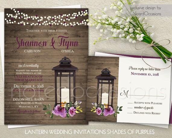 Purple Rustic Wedding Invitations: Lantern Wedding Invitation Rustic Wedding By NotedOccasions