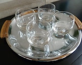 Vintage Roly Poly  On The Rocks Cocktail Glasses,Mid Century, Etched Starburst, Atomic Era, Set of Four Tumblers