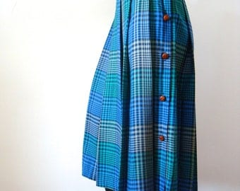 1980s Pleated Skirt - plaid rayon side button swingy skirt - vintage spring fashion