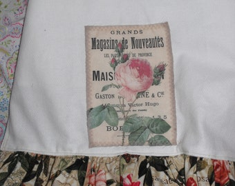 Kitchen Towel with Ruffle Rose Fabric print, butterfly, script rose buds
