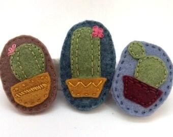 Cactus Felt Brooch