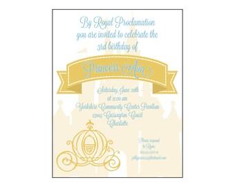 Cinderella Themed Birthday Party Invitation Digital File