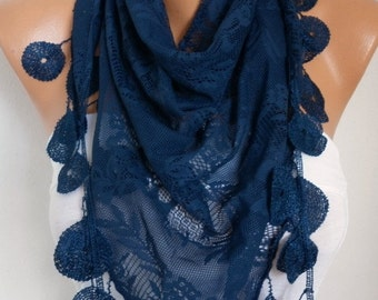 Dark Blue Lace Scarf,Spring Summer Scarf, Shawl, Women Scarves, Cowl Scarf Bridesmaid Gift Gift Ideas For Her Women Fashion Accessories