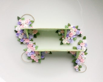 Dollhouse shelf with pink, lilac and white roses to fit 1:12 scale miniature dollhouse