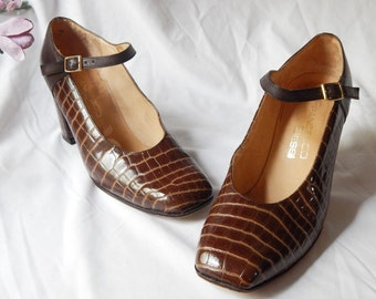 VINTAGE Authentic FRANCESCO BESSI ~Croc Leather ~ Brown Leather High Heel~ Mary Janes~ Size 5 Stunners