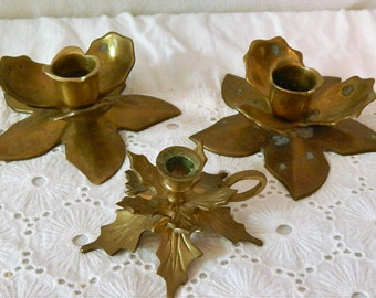 Vintage Solid Brass~Short Floral Candlestick Holders~Made in INDIA