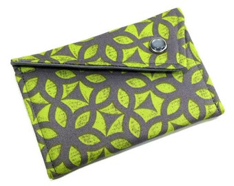 Monogrammed Business Card Wallet - Grey and Citron Green/Yellow Geometric Flowers