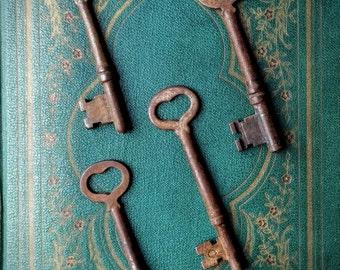 Antique skeleton keys with heart centers - set of 4