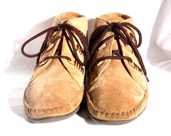 Suede Moccasin Ankle Boots - Size 7.5 (USA) - Vintage Leather Craft - Excellent Condition