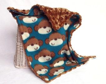 Monkey Travel Blanket with Carmel Minky Swirl - Monkey Lovey - Monkey Security Blanket - Baby Boy Security Blankie - Baby Boy Lovey - Monkey