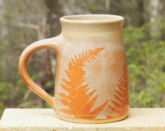 Rusty Fern Mug, 21oz.Coffee Tea Handmade, Microwave friendly, Stoneware Roomy Handle Home and Living Kitchen and dining Drink and Bar Ware