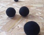 Medium Black Color Natural Merino Wool Felted Balls for Cats