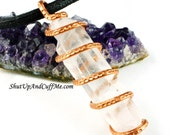 Quartz Crystal Point and Copper Necklace