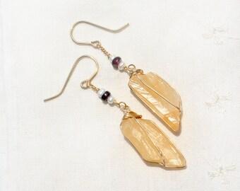 Gold Filled Earrings. Stone Jewelry. Beige Drop Earrings. Raw Stone Earrings+ Pearls& Garnets. Gold Filled Jewelry Big Crystal Rock Earrings