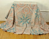 """Round Paisley Tablecloth Vintage Linens Handmade 88"""" Diameter Gorgeous Marsala Turquoise Hot Pink on Cream"""