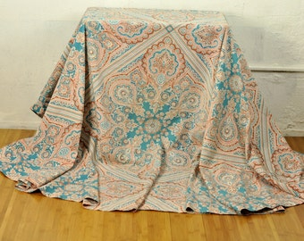"Round Paisley Tablecloth Vintage Linens Handmade 88"" Diameter Gorgeous Marsala Turquoise Hot Pink on Cream"